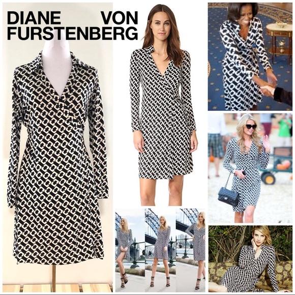 8a30b13decf Diane Von Furstenberg Dresses   Skirts - DVF New Jeanne Two Silk B W  Chainlink Wrap Dress